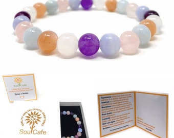 Stress and Anxiety Power Bead Bracelet - Healing Crystal Gemstone Gift - Power Bracelet - Stress Relief Bracelet - Soul Cafe Gift Box & Tag