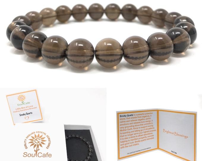 Smoky Quartz Power Bead Crystal Bracelet - Healing Crystal Gemstone Bracelet - Soul Cafe Gift Box & Tag