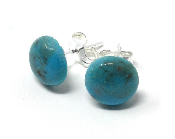 8mm Turquoise & Sterling Silver Stud Earrings - Healing Gemstones - Turquoise Studs - Gemstone Stud Earrings - Gift Packed