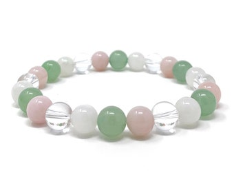Cancer Crystal Bracelet - Power Bracelet - Zodiac Birthstones - Gift Box & Cancer Tag - Moonstone, Rose Quartz, Aventurine, Clear Quartz