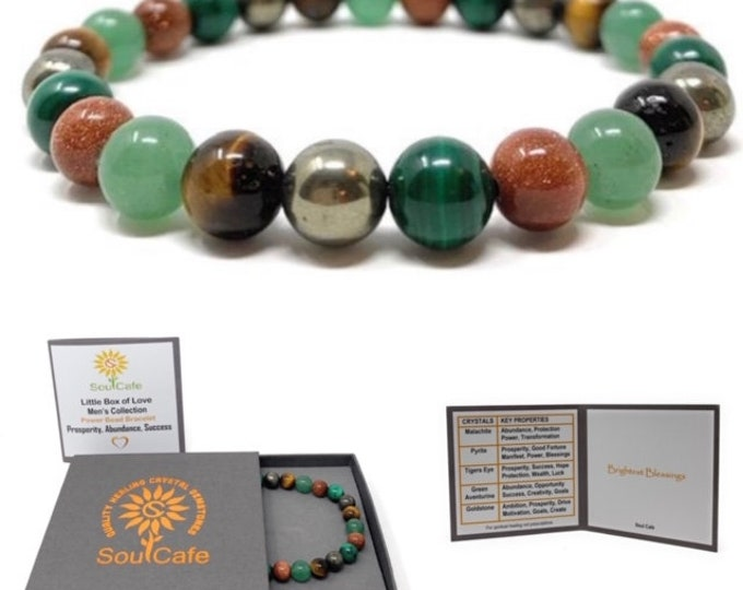 Men's Prosperity Crystal Bracelet - Stretch Power Bead Bracelet - Healing Crystal Gemstones - Soul Cafe Gift Box & Tag