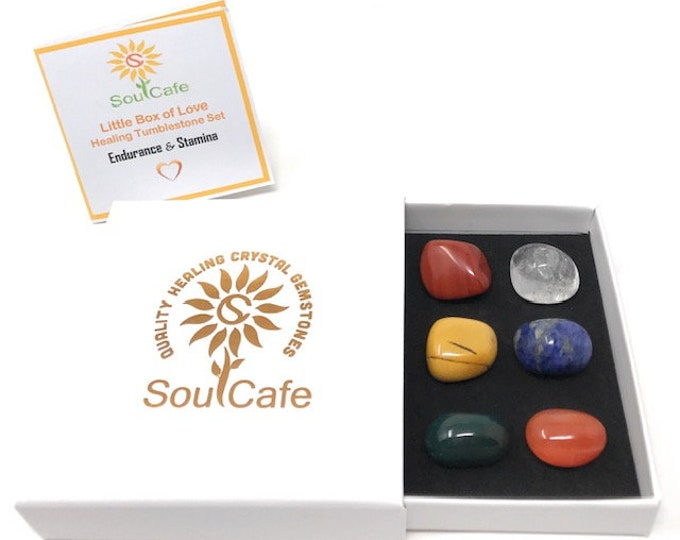 Endurance & Stamina Tumblestone Gift Set - Healing Gemstones - Yellow Jasper- Bloodstone - Red Jasper - Carnelian - Sodalite - Clear Quartz