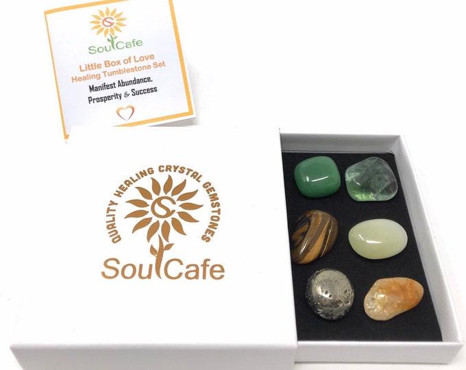 Tumblestone Gift Set - Manifesting Abundance Success and Prosperity 6 Tumblestones - Healing Crystal Gemstones