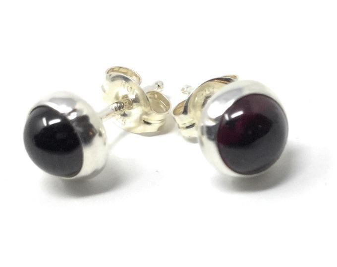 Garnet Studs - Sterling Silver Stud Earrings - Healing Gemstone Gift - 6mm Crystal Earrings