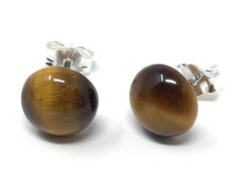 Tigers Eye - Sterling Silver Stud Earrings 8mm - Healing Gemstones - gift box - Little Box of Love - gift tag