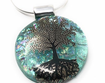 Tree of Life pendant - handmade - kiln fired dichroic glass - sterling silver - fused glass - unique necklace - gift box