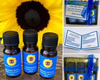 100% Pure Essential Oil Gift Set - Pain Ease Blend - Healing Scents - Clove Bud, Lavender, Eucalyptus - Recipe Tag - Therapeutic Grade