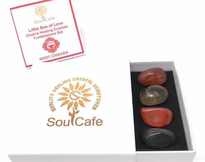 Root Chakra Balancing Set -  Healing Crystal Gemstones - Tublestone Set - Red Jasper, Sardonyx, Smoky Quartz, Obsidian