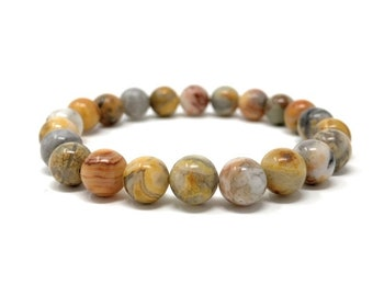 Crazy Lace Agate Power Bead Crystal Bracelet - Healing Crystal Gemstone Bracelet - Gift Box & Tag - Size choices