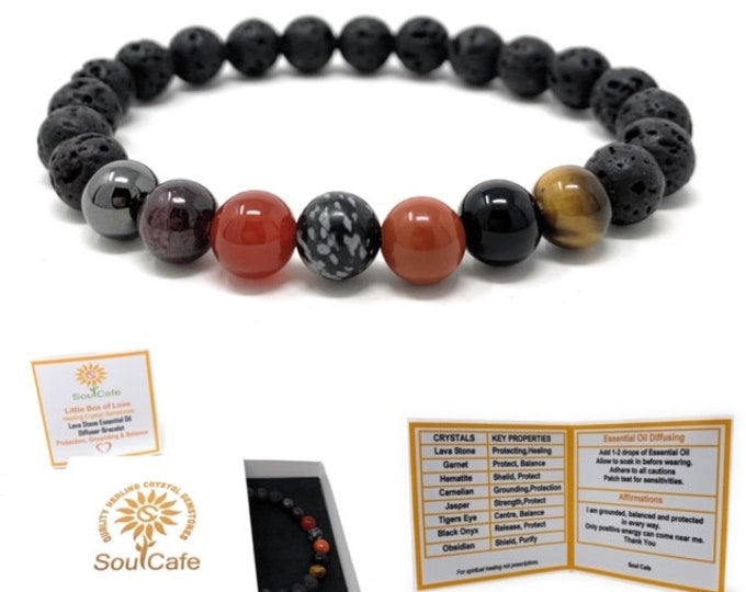 Protection Bracelet Lava Stone Diffuser Gemstone Bracelet - Essential Oil Power Bead Bracelet - Soul Cafe Gift Box & Tag