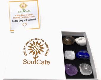 Restful Sleep and Dream Recal Healing Crystal Gemstones - 6 Grade A Tumblestones - Lapis lazuli – Amethyst - Quartz - Howlite - Selenite