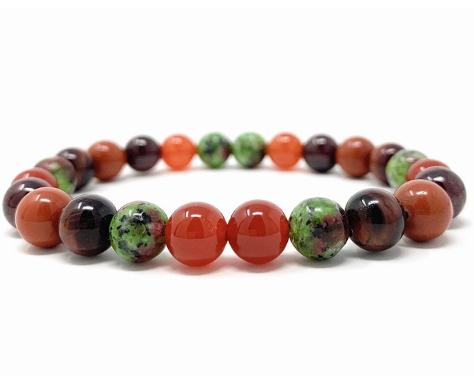 Love & Passion Power Bead Bracelet - Healing Crystal Gemstone Bracelet - Gift Box and Information Tag - Size choices