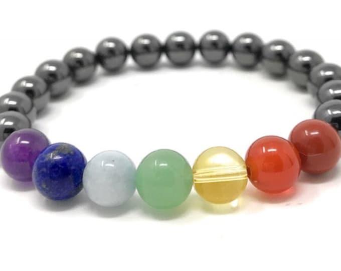 Chakra Bracelet - Magnetic Hematite and Seven Chakra Power Bead Bracelet - Gift Box & Chakra Tag - Size Choice