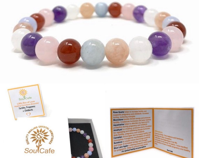 Fertility, Pregnancy & Childbirth Bracelet - Power Bead Bracelet - Healing Crystal Gemstones - Soul Cafe Gift Box and Tag