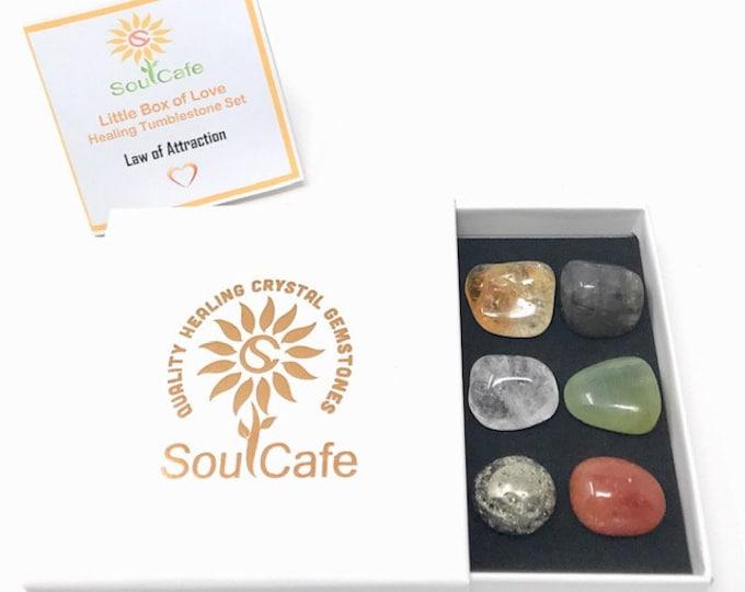 Law of Attraction Tumblestone Gift Set  - Healing Crystal Gemstones - Pyrite, Citrine, Clear Quartz, Carnelian, Labradorite, New Jade