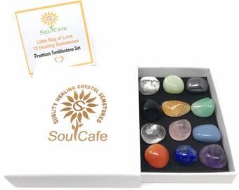 Premium Healing Gemstones Starter Set - 12 Crystal Tumblestones - Includes Soul Cafe  Gift Box & Crystal Information Tag