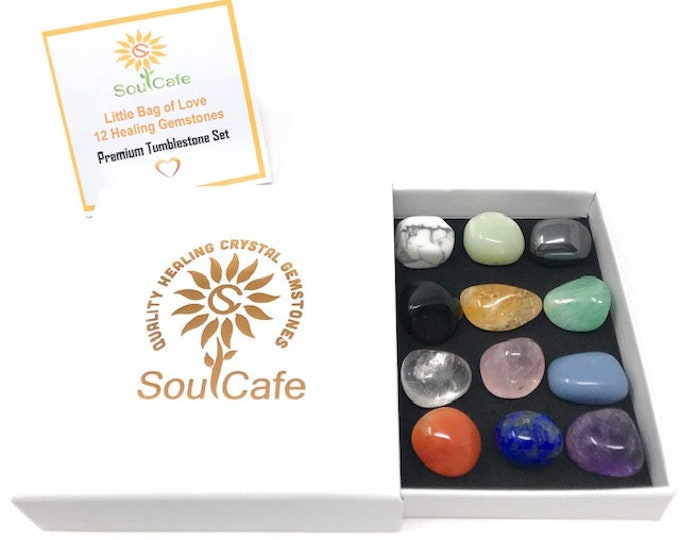 Premium Healing Gemstones Starter Set - 12 Crystal Tumblestones - Includes Soul Cafe  Gift Box & Crystal Information Tag