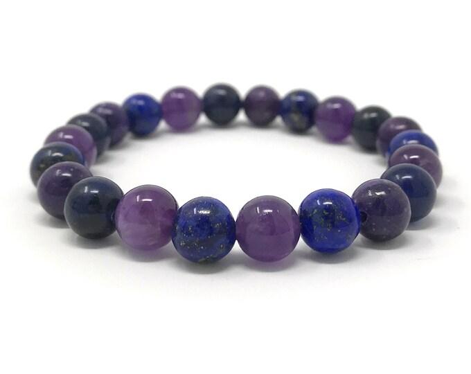 Third Eye Chakra Bracelet - Power Bracelet - Healing Crystal Gemstones - Size Choice - Lapis Lazuli, Lilac Lepidolite , Amethyst, Sodalite