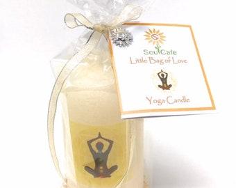 Yoga Meditation Candle Gift - Rustic Ivory Pillar Candle - Choice of sizes - Soul Cafe gift tag - Meditation - Spiritual - New Age