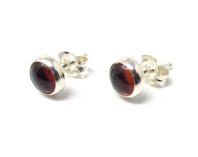 Amber Studs Earrings - Sterling Silver Stud Earrings - Healing Gemstone Gift - 6mm Crystal Earrings