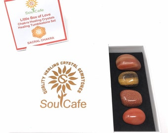 Sacral Chakra Balancing Set -  Healing Crystal Gemstones - Tublestone Set - Carnelian, Sardonyx, Goldstone, Tigers Eye