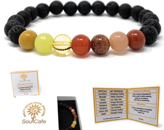 Positive Energy Bracelet - Lava Stone Diffuser Gemstone Bracelet - Joy Bracelet - Essential Oil Power Bead Bracelet - Gift Box & Tag
