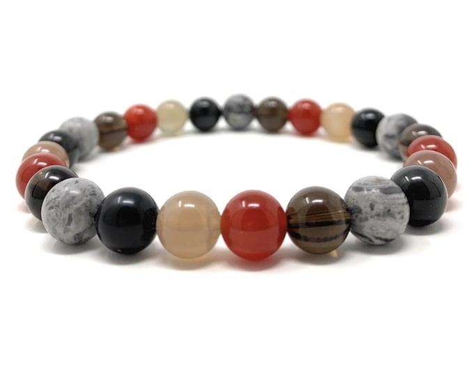 Men's Grief & Loss Stretch Healing Gemstone Bracelet - Ocean Jasper, Moonstone, Carnelian, Obsidian, Moss Agate - Gift Box and Tag