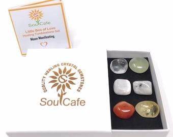 Moon Manifesting Crystals - Tumblestones Set - Healing Crystal Gemstones - Moonstone, Selenite, Clear Quartz, New Jade, Citrine, Carnelian