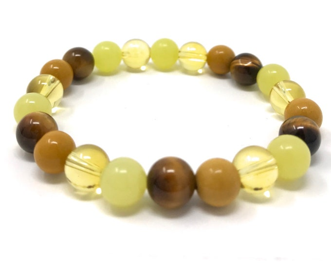 Solar Plexus Chakra Bracelet - Power Bead Bracelet - Healing Gemstones - Size Choice - Citrine, Tigers Eye, Yellow Jade, Yellow Jasper
