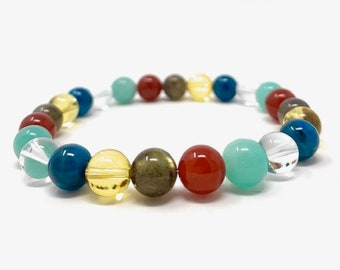 Law of Attraction & Manifesting Power Bead Bracelet - Healing Crystal Gemstone Bracelet - Gift Box and Information Tag