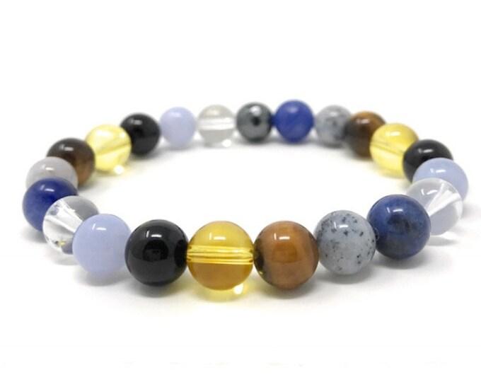 Concentration, Memory & Thinking Crystal Bracelet - Power Bead Bracelet - Crystal healing Gemstone Bracelet - Size choices