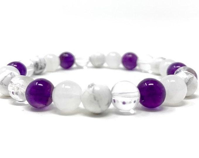 Crown Chakra Bracelet - Power Bead Bracelet - Healing Crystal Gemstones - Size Choice - Amethyst, Howlite, Moonstone, Clear Quartz