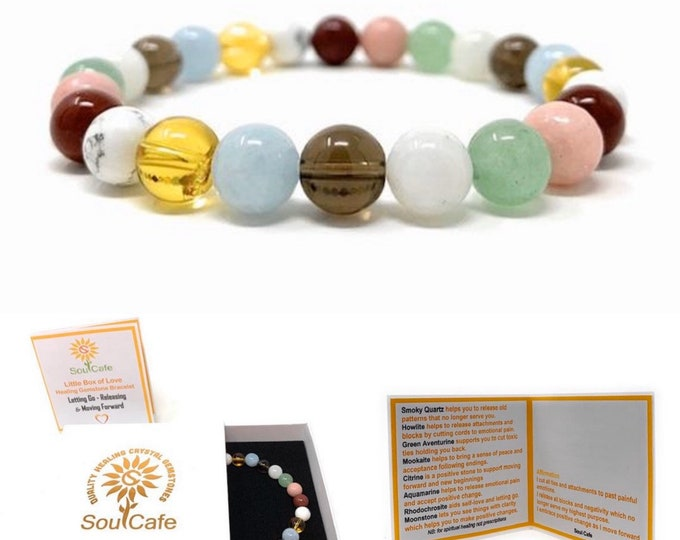 Power Bead Bracelet  - Crystals for Letting go of Past - Quality Healing Crystal Gemstone Bracelet - Soul Cafe Gift Box & Tag