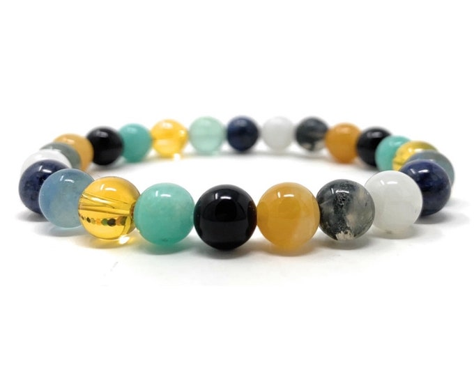 Study Aid Crystal Gemstone Bracelet - Power Bead Bracelet - Memory, Concentration, Exams - Soul Cafe Gift Box & Tag