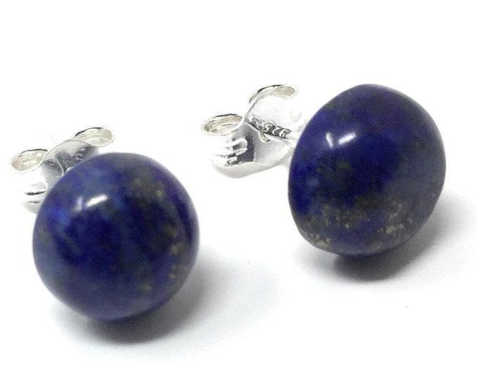 Lapis Lazuli Stud Earrings -  Sterling Silver & Lapis Lazuli Earrings - Healing Gemstones -  8mm Stud Earring