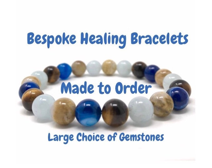 Made to Order Healing Crystal Bracelet - Choice of Gemstones - Includes Gift Box and Personalised Tag