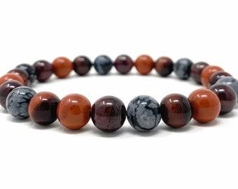Root Chakra Bracelet - Power Bead Bracelet - Healing Crystal Gemstones, Size Choice - Red Jasper, Garnet, Red Tigers Eye, Snowflake Obsidian