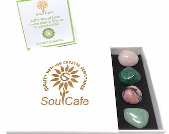 Heart Chakra Balancing Set -  Healing Crystal Gemstones - Tublestone Set - Green Aventurine, Rose Quartz, Malachite, Rhodonite