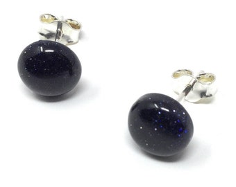 Blue Goldstone  Studs -  Sterling Silver & Blue Goldstone Earrings - Healing Gemstones - Choice of 2 sizes 8mm or 10mm