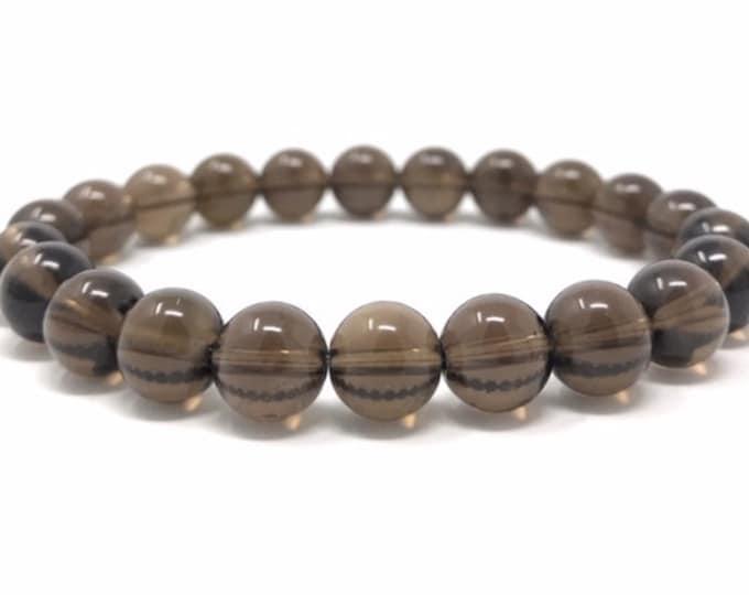 Smoky Quartz Power Bead Crystal Bracelet - Healing Crystal Gemstone Bracelet - Size choices - Gift Box & Tag