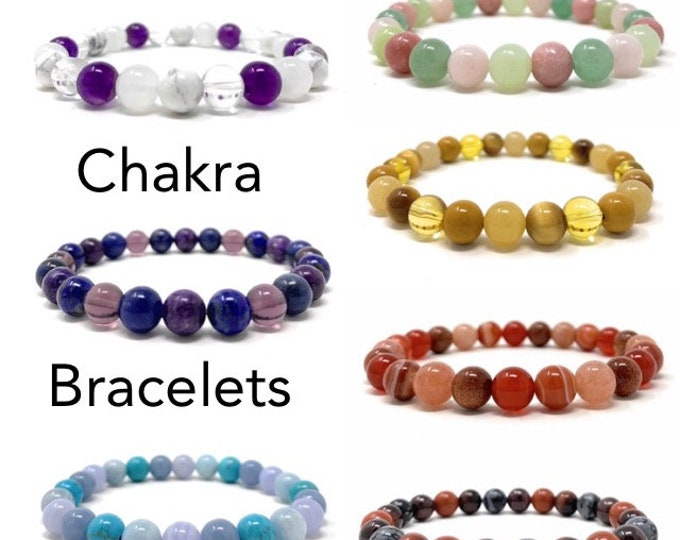 Soul Cafe Chakra Healing Crystal Bracelets - Size Choice Customisation - Includes Gift Box & Information Tag