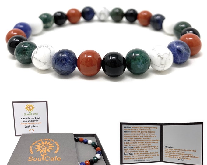Men's Grief & Loss Healing Gemstone Stretch Bracelet - Gift Box and Tag