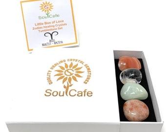 Aries Crystal Set - Zodiac Birthstones - Aries Tumblestone Gift - Aries Information Tag - Clear Quartz, Aquamarine, Carnelian, Sunstone