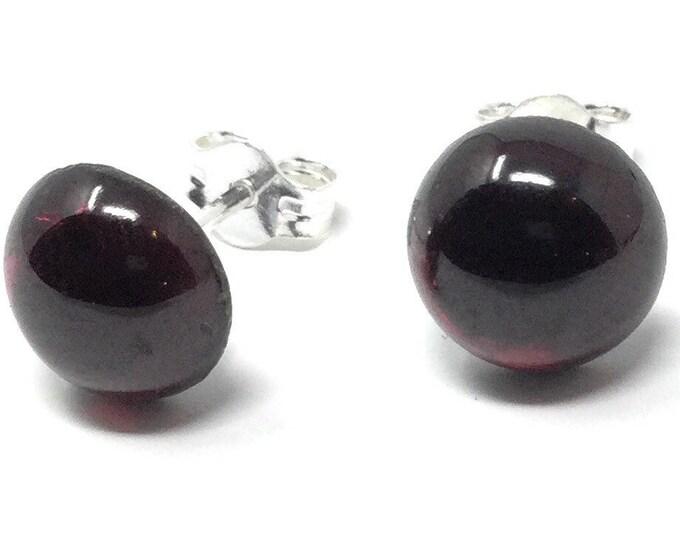 Garnet Stud Earrings -  Sterling Silver & Garnet Earrings - Healing Gemstones -  8mm Stud Earrings