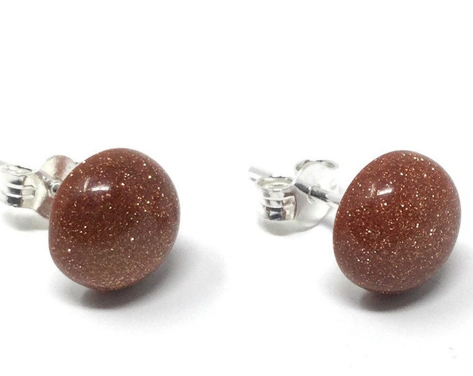 Goldstone Stud Earrings -  Sterling Silver & Goldstone Earrings - Healing Gemstones -  8mm Stud Earrings - gift box