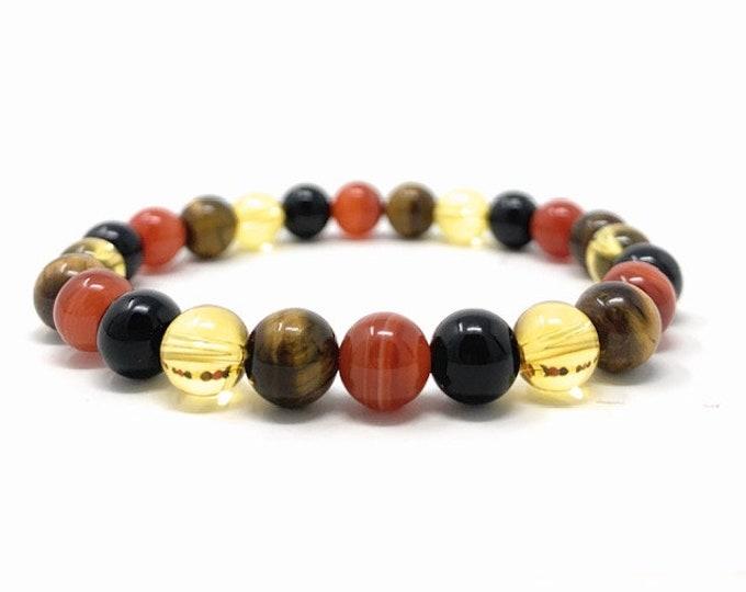 Leo Crystal Bracelet - Power Bracelet - Zodiac Birthstones - Gift Box & Leo Tag - Onyx, Carnelian, Citrine, Tigers Eye