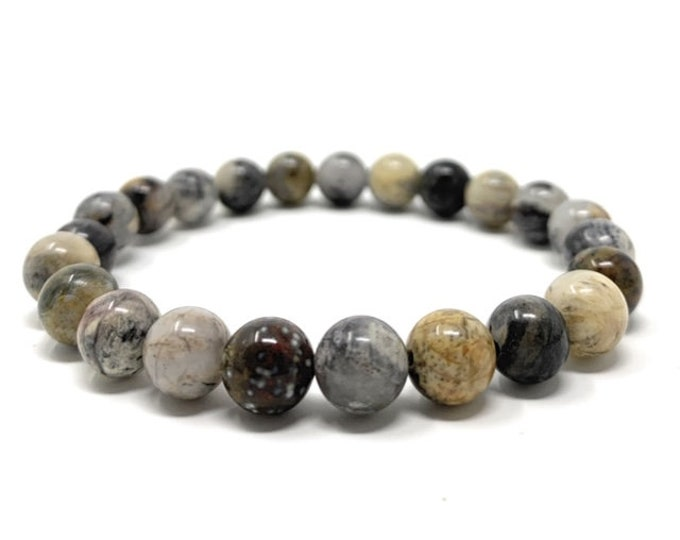 Ocean Jasper Power Bead Crystal Bracelet - Healing Crystal Gemstone Bracelet - Gift Box & Tag - Size choices
