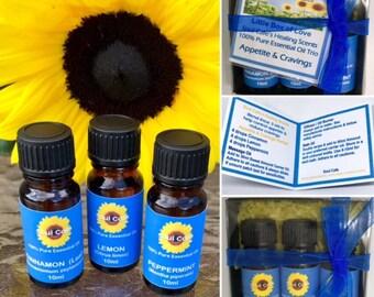 Appetite & Cravings Pure Essential Oils - Massage Oil Set - Healing Scents - Cinnamon, Lemon, Peppermint - Recipe Tag - Therapeutic Grade