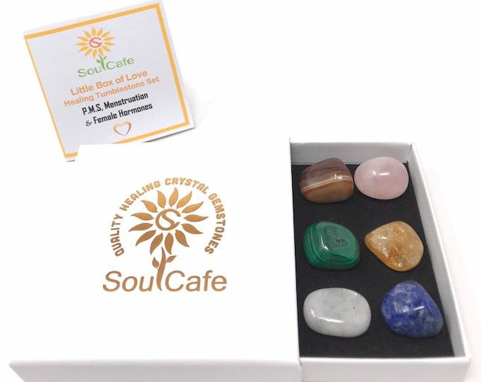 PMS & Menstruation Crystal Set - 6 Tumblestones - Healing Crystals - Malachite - Rose Quartz - Moonstone - Sodalite - Citrine - Sardonyx