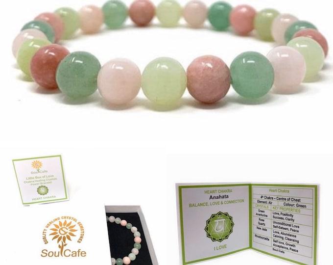 Heart Chakra Bracelet - Power Bead Bracelet - Healing Crystal Gemstones, Green Aventurine, Rose Quartz, Jade, Rhodochrosite - Gift Box & Tag